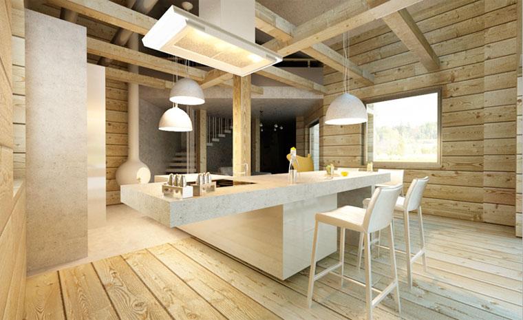 Фото – деревянный пол на кухне в деревянном доме