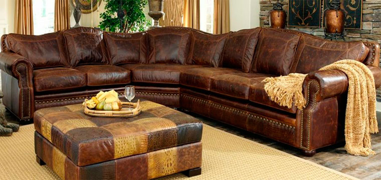 Natural and artificial leather corner sofas
