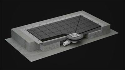 Система состоит из монтажа канализации в полу и сетки слива на уровне пола