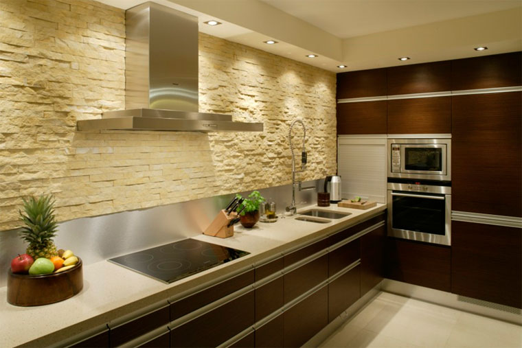 Камень на фартук современной кухни