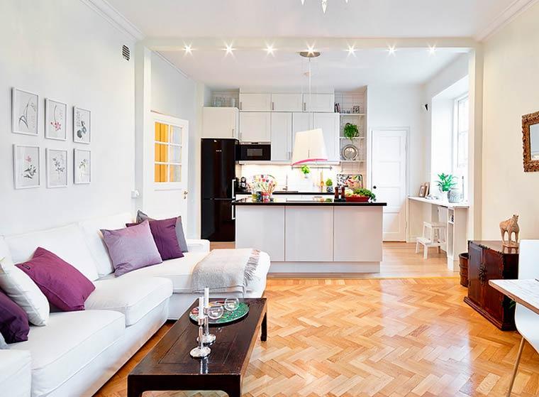 3-в-1 или дизайн интерьера кухни-столовой-гостиной, фото