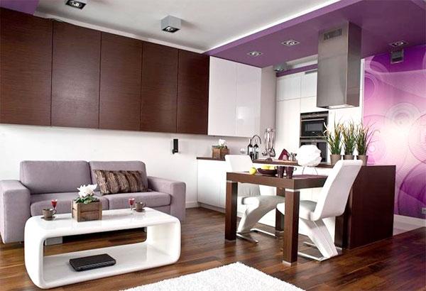 Коричневый и фиолетовый вместе придадут комнате тепло и уют