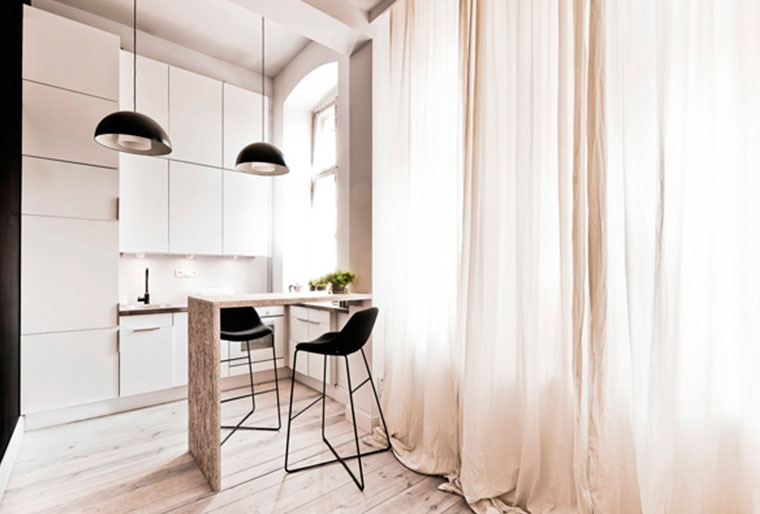 Оформление окна для скандинавской кухни гостиной