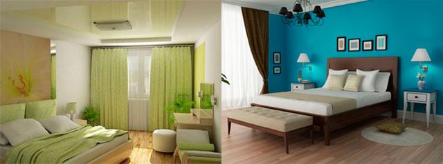 холодные цвета спальни: зеленый, синий