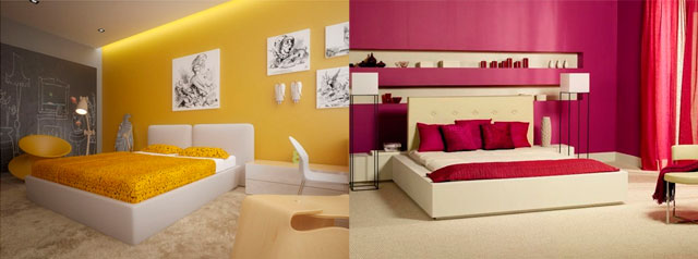 теплые цвета спальни: желтый или розовый