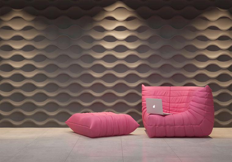 Трехмерные плиты на стене из отделочного камня