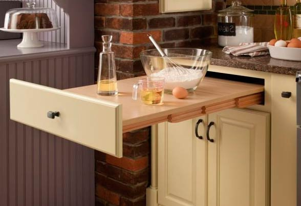 Выдвижная кухонная столешница фото