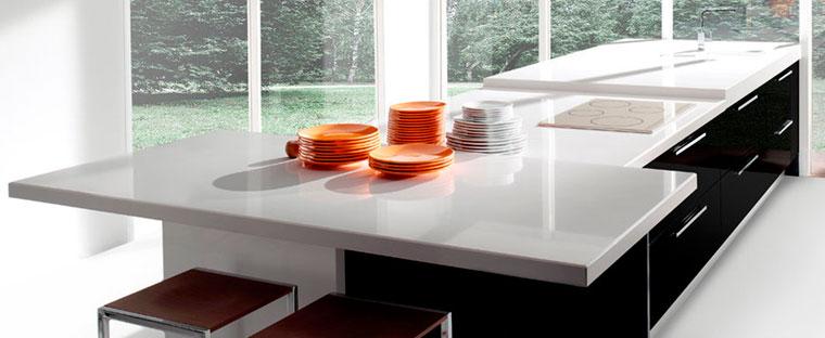 Композитные столешницы из искусственного камня кориан для кухни