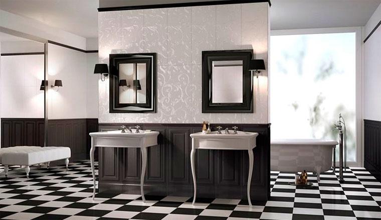 Интерьер ванной с черным полом в виде шахматной доски – фото