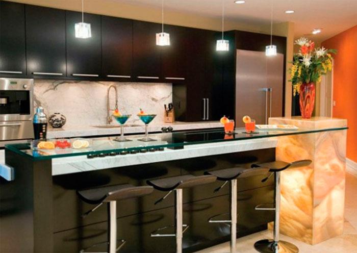 Кухня с баром дизайн