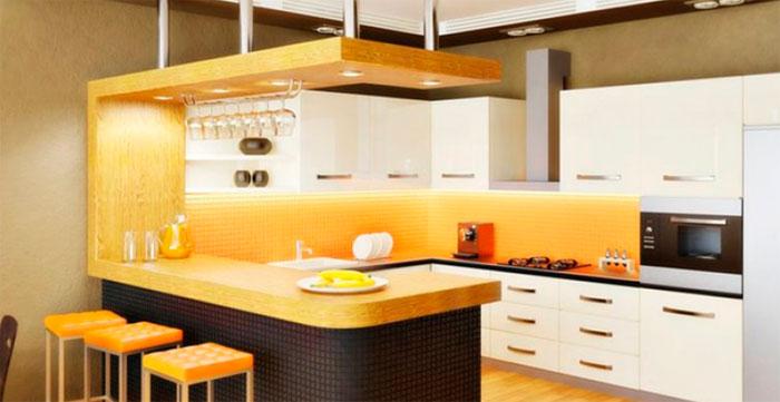 Кухни, совмещенные с гостиной с барной стойкой