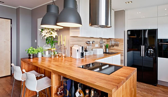 Дизайны кухни студии с барной стойкой