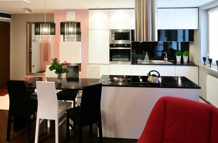 Кухня с барной стойкой совмещенная с гостиной