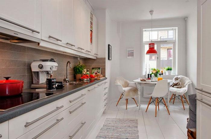 Белый пол в кухню отлично подойдет