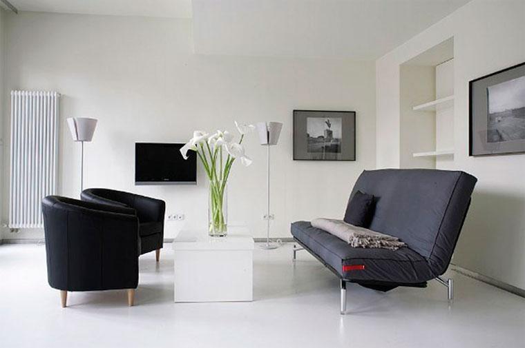белоснежный пол и яркий или черный диван