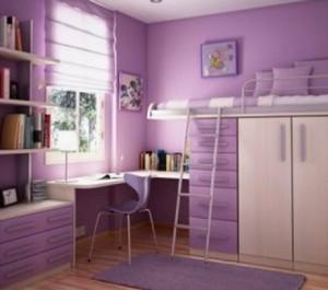 Небольшая лилово-фиолетовая детская для девочки-подростка
