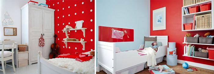 Красная детская комната для девочки