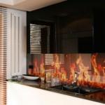 Стеклянные панели на кухню, фартук с декором