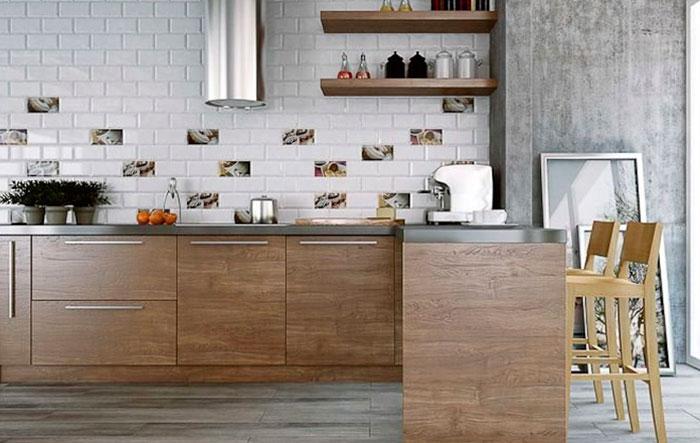 Кирпич в современной кухне