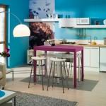 Интерьер кухни голубых цветов