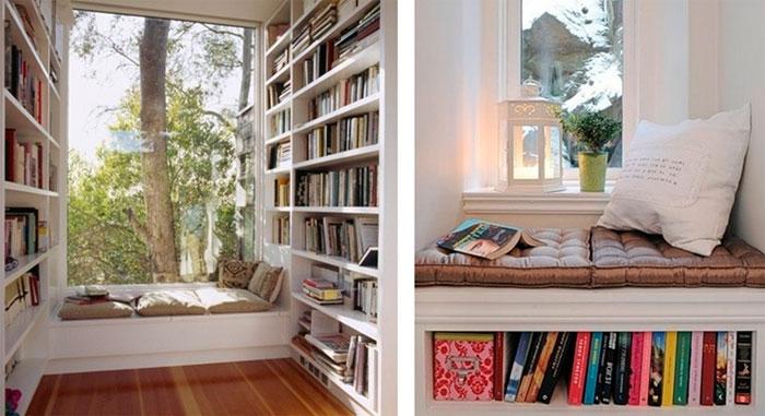 расширить подоконник, обустроив там удобное пространство для отдыха