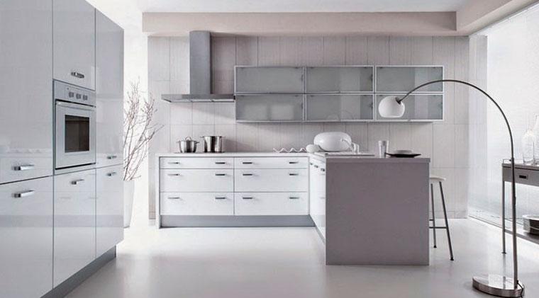 Примеры угловой кухни в стиле хай-тек