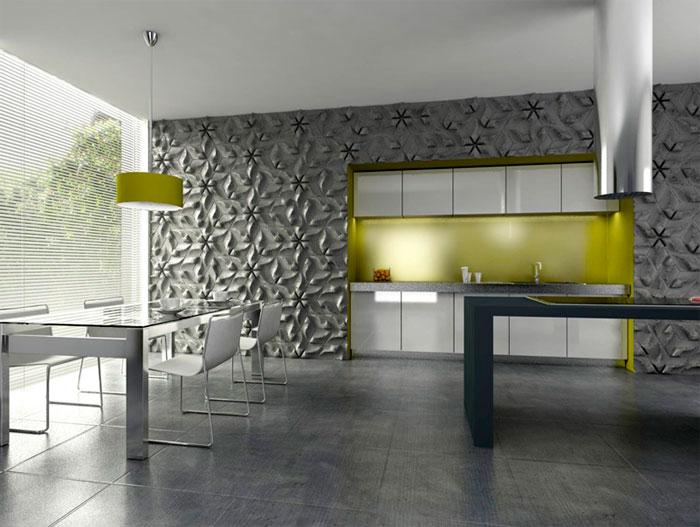 бетон в интерьере кухни 2016