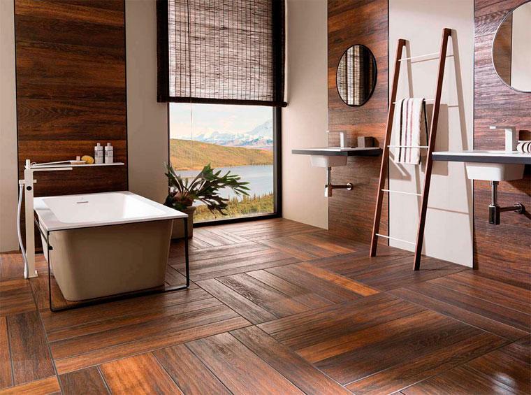 Керамическая плитка под дерево на стены для ванной