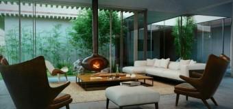 Дизайн гостиной с камином в современном стиле