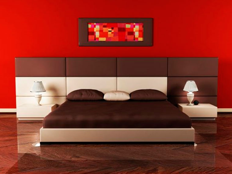 Интерьер спальни красного цвета