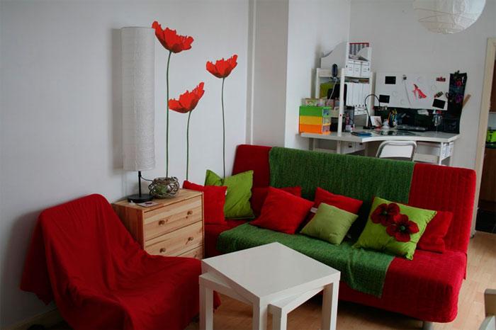Красно-зеленый цвет в интерьере