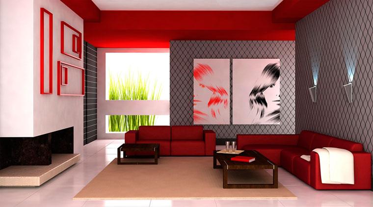 Сочетание с красным цветом в интерьере