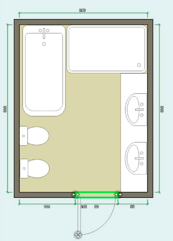 План ванной 7кв.м, мебель в большую ванную комнату