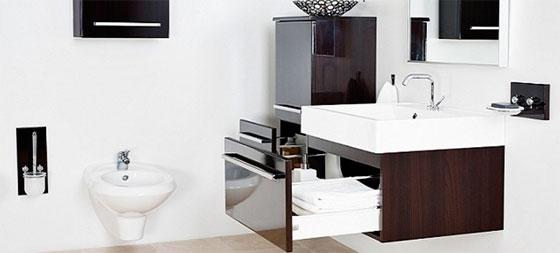 Подвесная тумба под раковину в ванную с ящиками