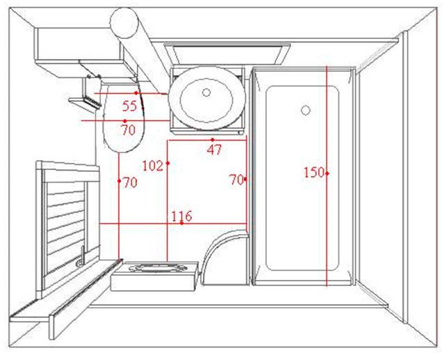 План ванной комнаты с размерами 130 х 280 см или площадью 2,8 м.кв