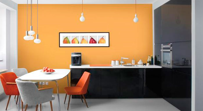 Wall paint in the kitchen is an inexpensive solution.