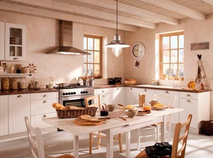 Бежевая кухня какие обои выбрать