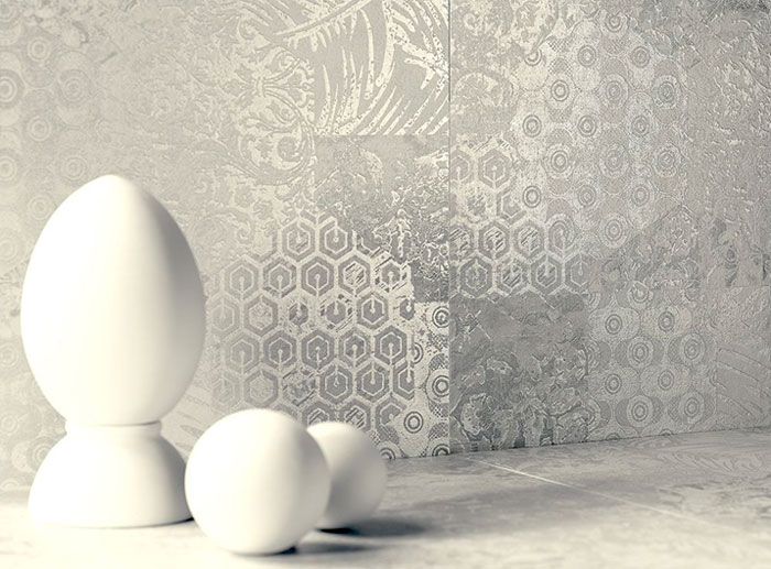 A photo. Gray 3D ceramic tiles with texture