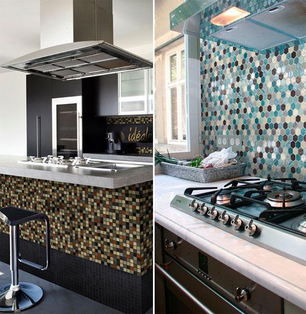 использование небольших разноцветных мозаичных кусочков на фартуке кухни