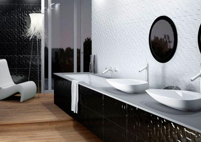 Трехмерная мозаика 3D в интерьере ванной