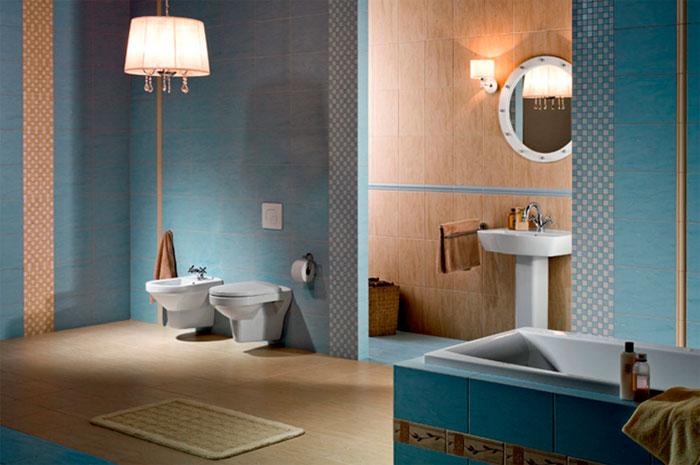 Голубой цвет в ванной комнате