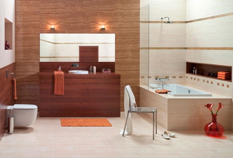 • Светлая плитка красиво подчеркнет красоту темных шкафов из древесины