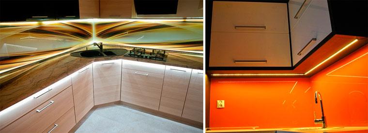 Подсветка рабочей зоны на кухне светодиодной лентой