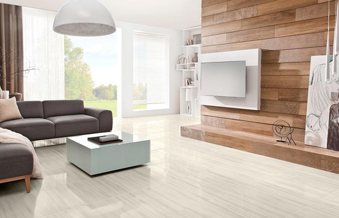 «Прохлада» керамической плитки хорошо подойдет к современной обстановке