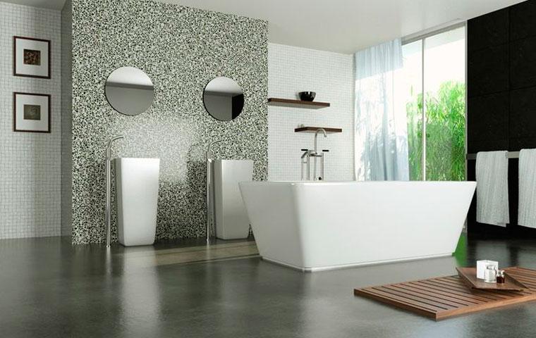 Полированный бетон на полу в ванной комнате