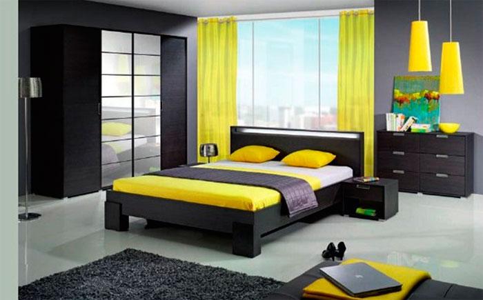 Современные спальни полны интенсивных контрастов