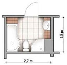 Проект дизайна ванной комнаты с ванной, унитазом и душем на 4,8 кв. м