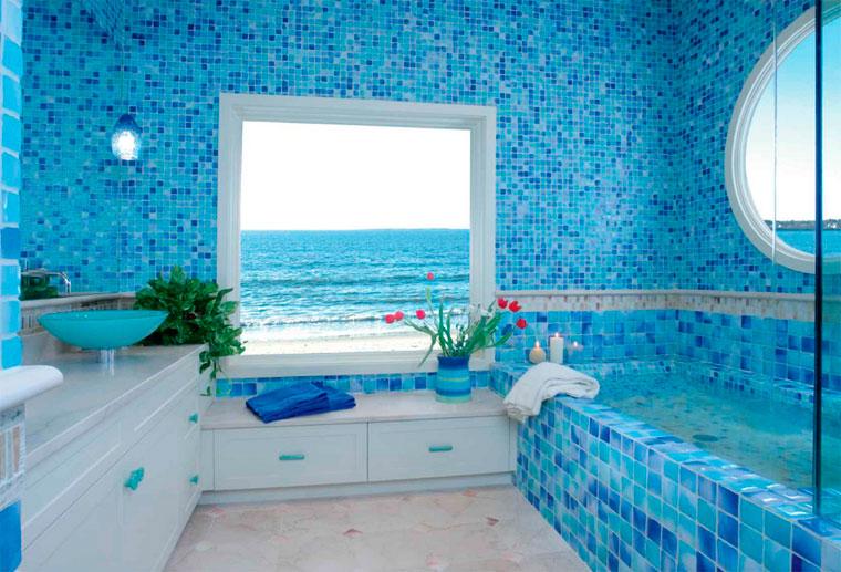 Ванная комната – морской стиль в интерьере, морская плитка для ванной