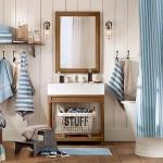 Морской стиль ванной комнаты - натуральные материалы