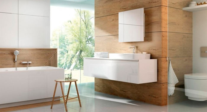 Красивый дизайн ванной комнаты в белом цвете